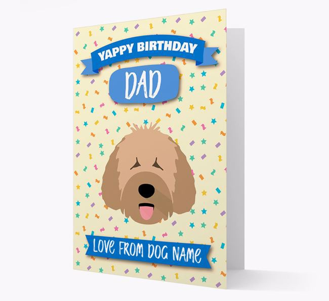 Personalized Card 'Yappy Birthday Dad' with Spanish Water Dog Icon