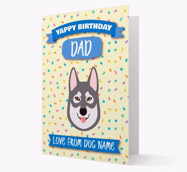 Personalised Card 'Yappy Birthday Dad' with Tamaskan Icon