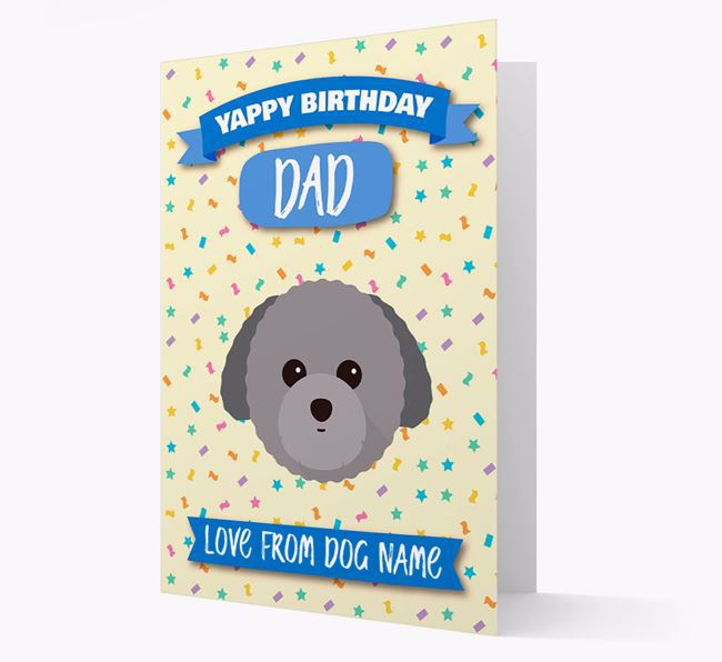 Personalised Card 'Yappy Birthday Dad' with Toy Poodle Icon