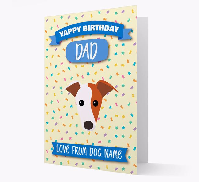 Personalized Card 'Yappy Birthday Dad' with Whippet Icon