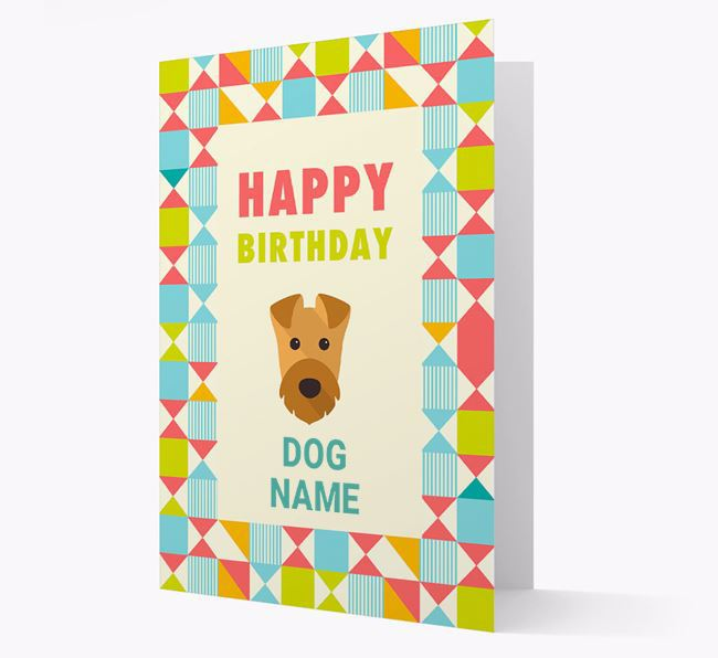Personalised 'Happy Birthday' Pattern Border Card with Airedale Terrier Icon