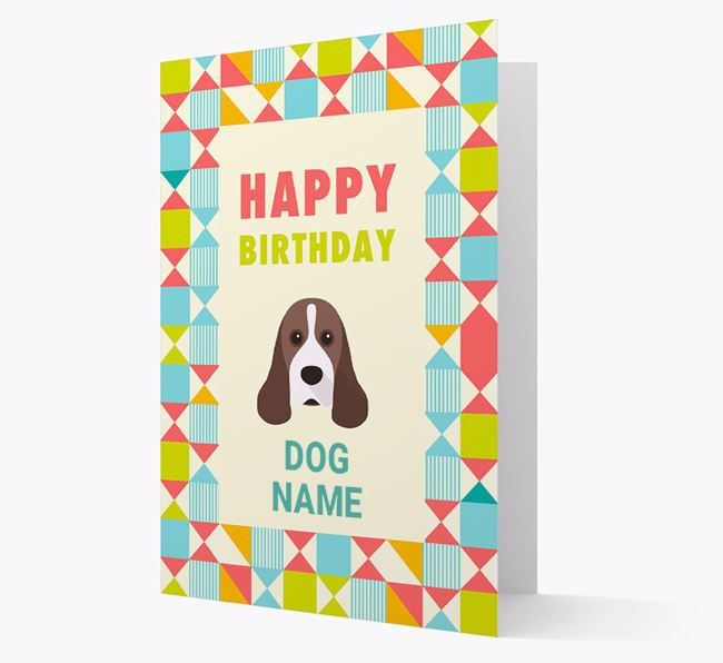 Personalized 'Happy Birthday' Pattern Border Card with American Cocker Spaniel Icon