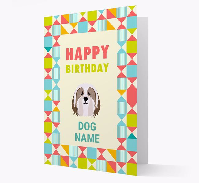 Personalized 'Happy Birthday' Pattern Border Card with Bearded Collie Icon