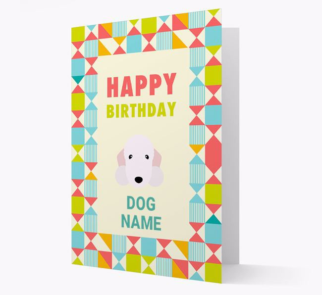 Personalized 'Happy Birthday' Pattern Border Card with Bedlington Terrier Icon