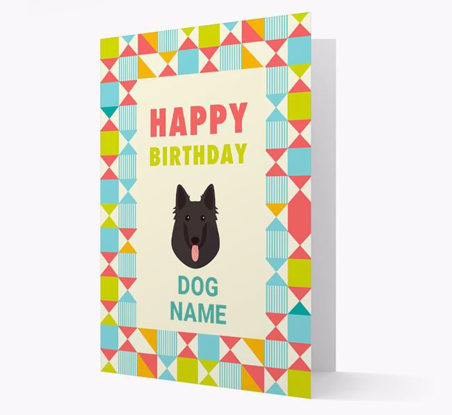 Personalized 'Happy Birthday' Pattern Border Card with Belgian Groenendael Icon