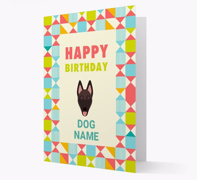 Personalised 'Happy Birthday' Pattern Border Card with Belgian Malinois Icon