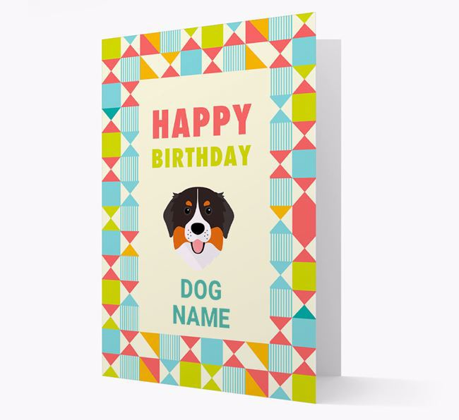 Personalized 'Happy Birthday' Pattern Border Card with Bernese Mountain Dog Icon
