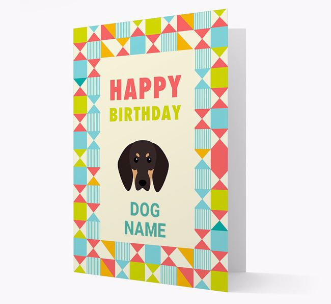 Personalised 'Happy Birthday' Pattern Border Card with Black and Tan Coonhound Icon