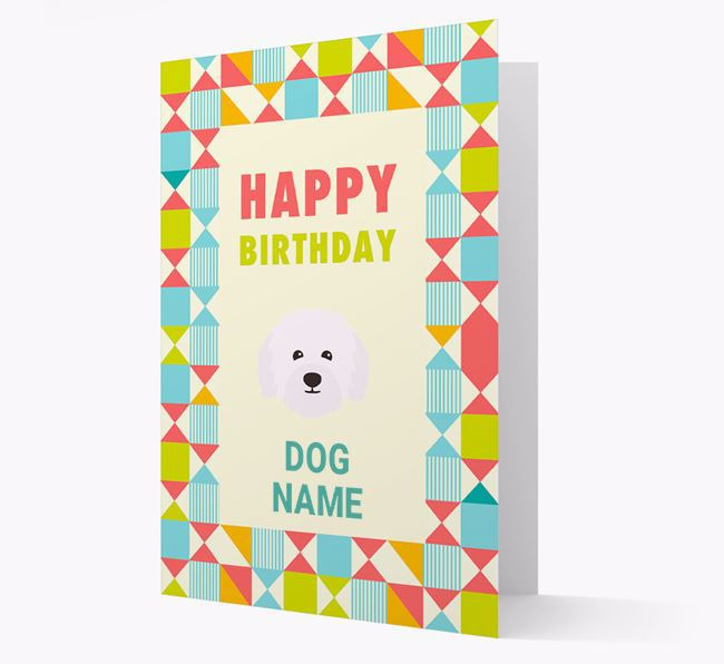 Personalised 'Happy Birthday' Pattern Border Card with Bolognese Icon