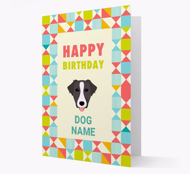 Personalized 'Happy Birthday' Pattern Border Card with Borador Icon