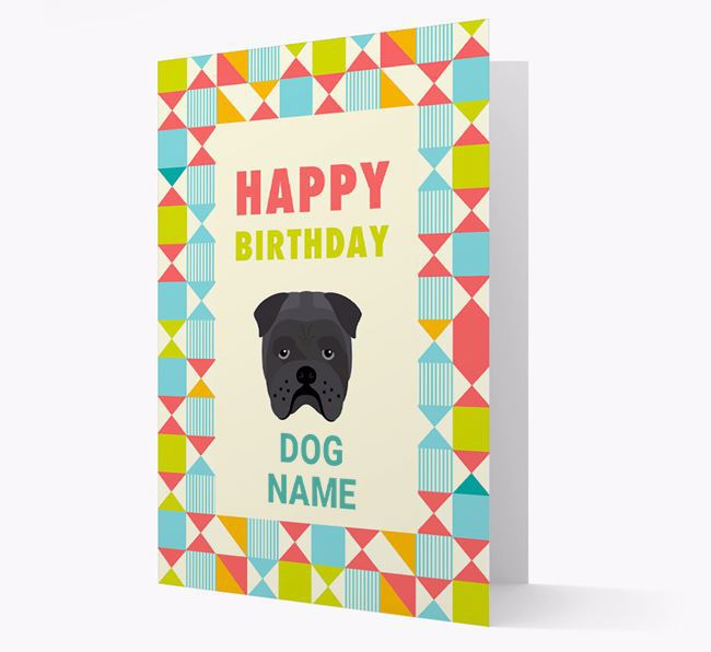 Personalized 'Happy Birthday' Pattern Border Card with Bull Pei Icon