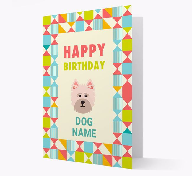 Personalized 'Happy Birthday' Pattern Border Card with Cairn Terrier Icon