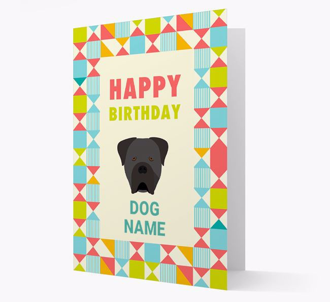 Personalized 'Happy Birthday' Pattern Border Card with Cane Corso Italiano Icon