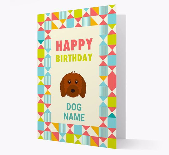 Personalized 'Happy Birthday' Pattern Border Card with Cavapoo Icon