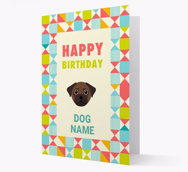 Personalised 'Happy Birthday' Pattern Border Card with Chug Icon