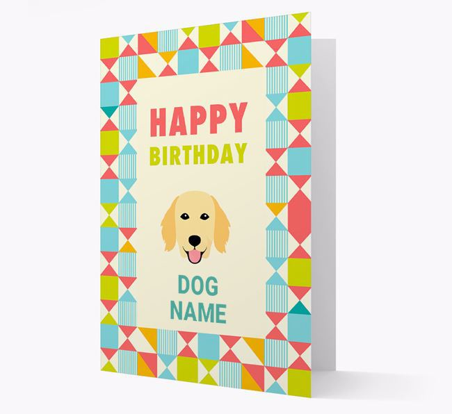Personalized 'Happy Birthday' Pattern Border Card with Flat-Coated Retriever Icon