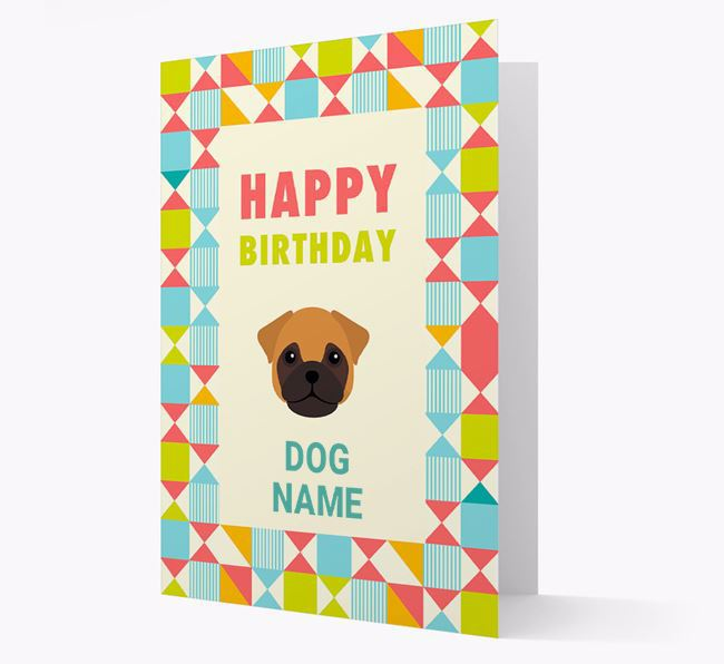 Personalized 'Happy Birthday' Pattern Border Card with Frug Icon