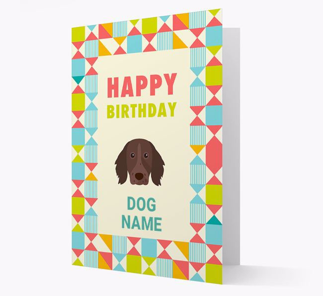 Personalized 'Happy Birthday' Pattern Border Card with German Longhaired Pointer Icon