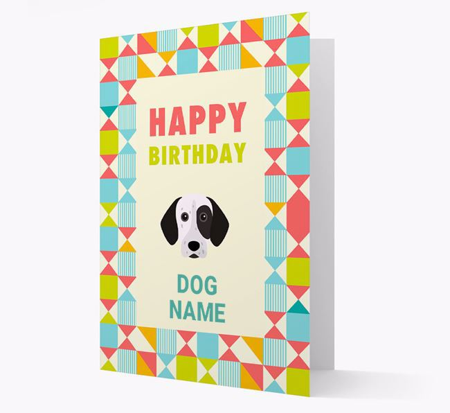 Personalized 'Happy Birthday' Pattern Border Card with German Shorthaired Pointer Icon