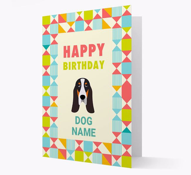 Personalised 'Happy Birthday' Pattern Border Card with Grand Bleu De Gascogne Icon