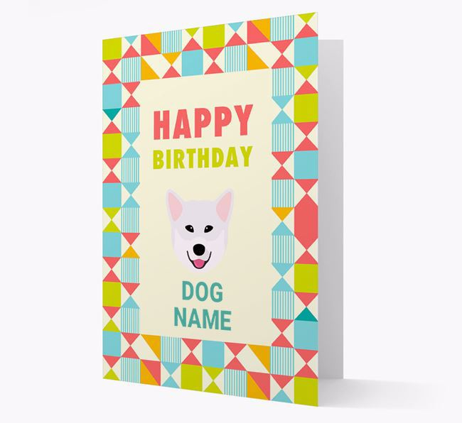 Personalized 'Happy Birthday' Pattern Border Card with Greenland Dog Icon