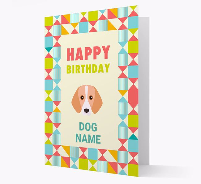 Personalized 'Happy Birthday' Pattern Border Card with Harrier Icon