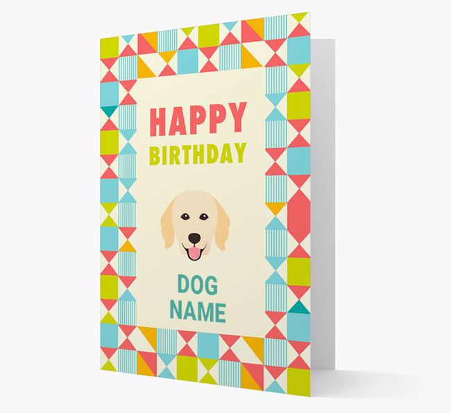Personalized 'Happy Birthday' Pattern Border Card with Hovawart Icon