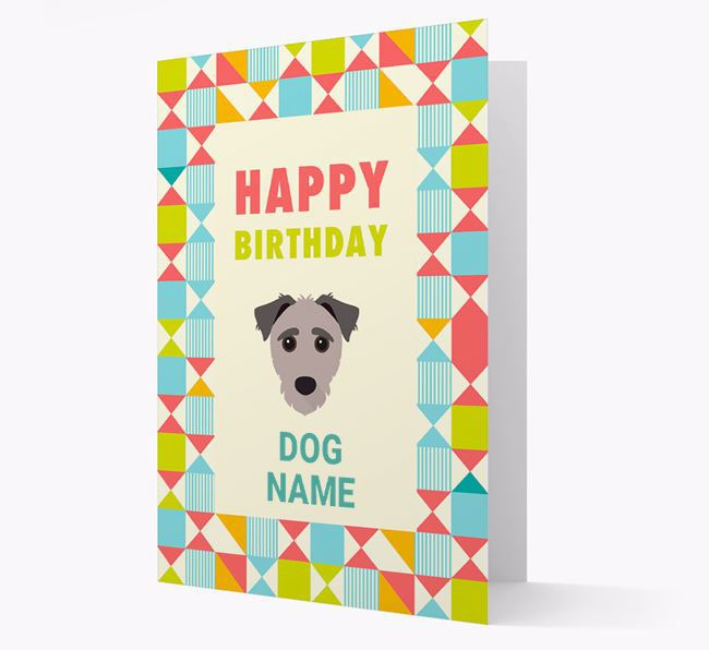 Personalized 'Happy Birthday' Pattern Border Card with Jack-A-Poo Icon