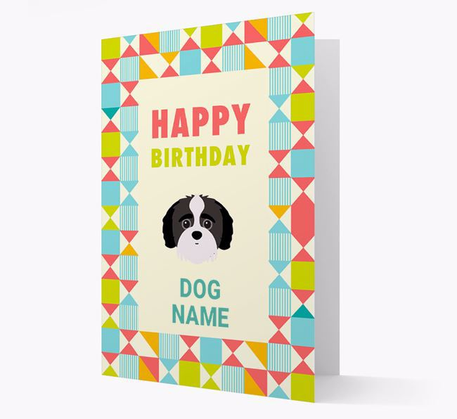 Personalised 'Happy Birthday' Pattern Border Card with Jack-A-Poo Icon