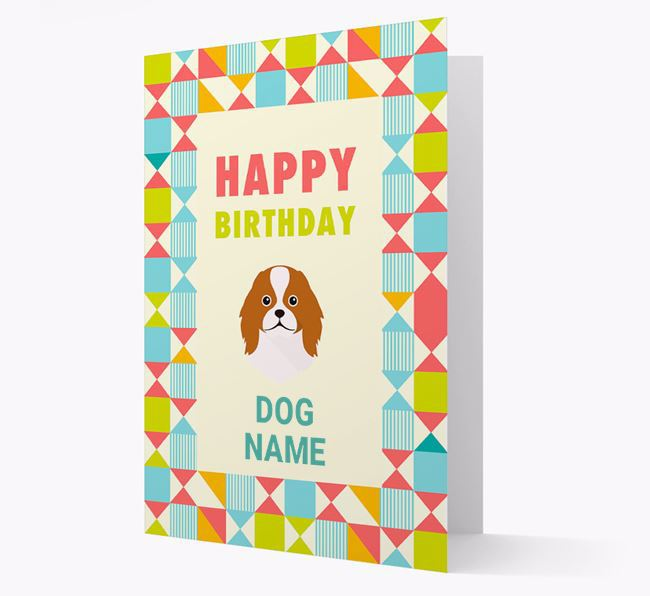 Personalized 'Happy Birthday' Pattern Border Card with Japanese Chin Icon