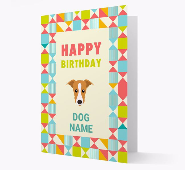 Personalized 'Happy Birthday' Pattern Border Card with Lurcher Icon