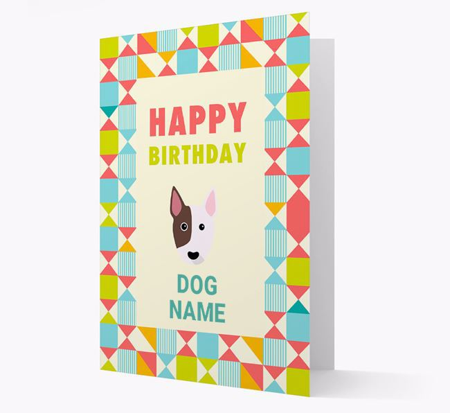 Personalized 'Happy Birthday' Pattern Border Card with Mixed Breed Icon