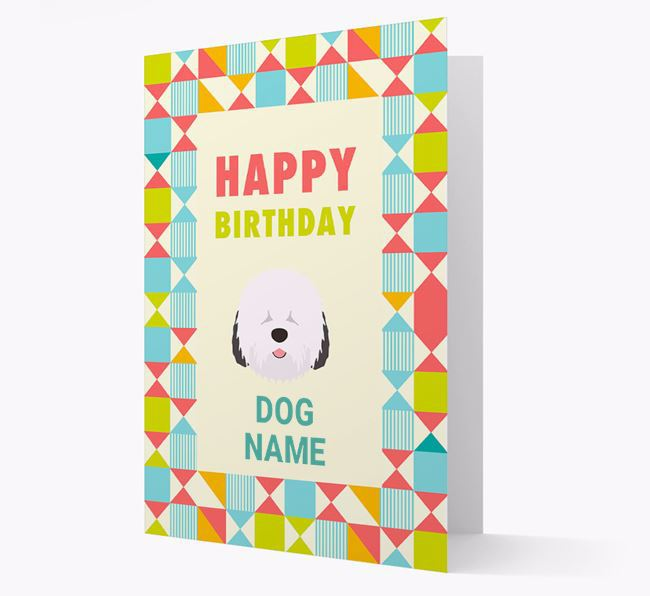 Personalized 'Happy Birthday' Pattern Border Card with Old English Sheepdog Icon