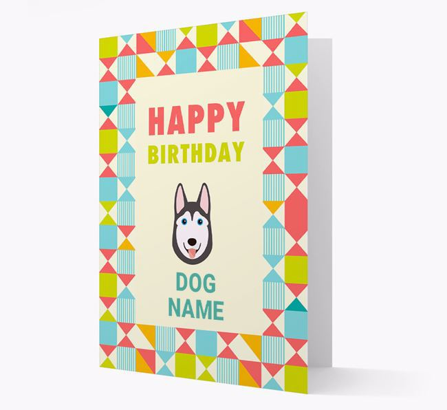 Personalised 'Happy Birthday' Pattern Border Card with Dog Icon