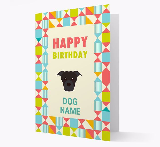 Personalized 'Happy Birthday' Pattern Border Card with Dog Icon