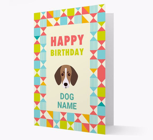 Personalized 'Happy Birthday' Pattern Border Card with Trailhound Icon