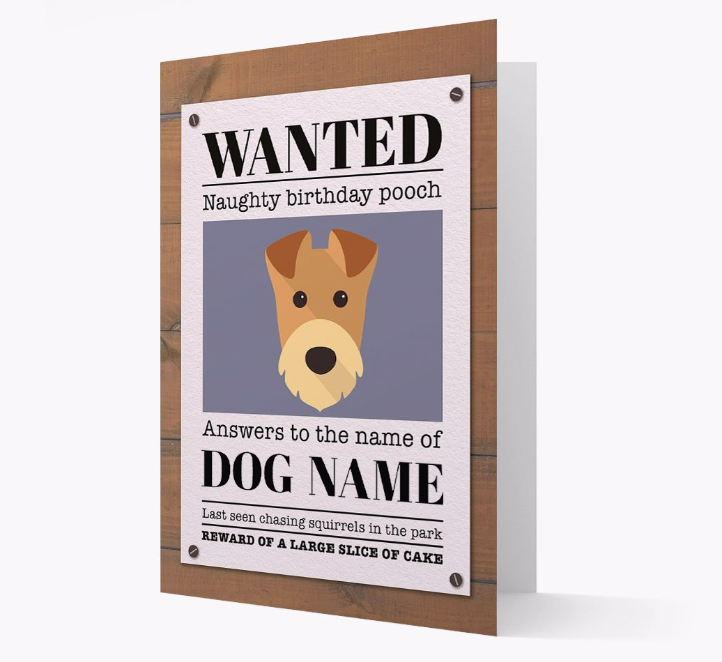 Personalised Card 'WANTED: Naughty Birthday Pooch' with Airedale Icon