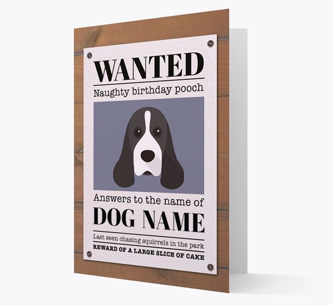 Personalized Card 'WANTED: Naughty Birthday Pooch' with Cocker Spaniel Icon