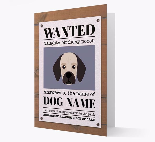 Personalised Card 'WANTED: Naughty Birthday Pooch' with Bassugg Icon