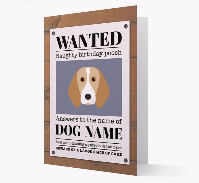Personalised Card 'WANTED: Naughty Birthday Pooch' with Beagle Icon