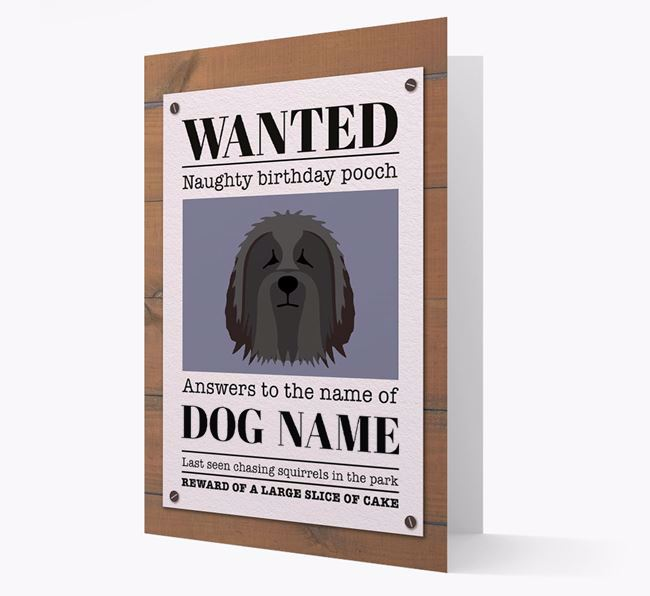 Personalized Card 'WANTED: Naughty Birthday Pooch' with Bearded Collie Icon