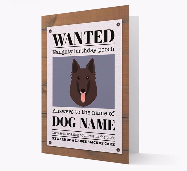Personalized Card 'WANTED: Naughty Birthday Pooch' with Belgian Shepherd Icon