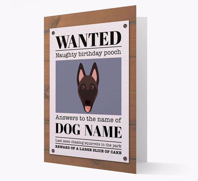 Personalised Card 'WANTED: Naughty Birthday Pooch' with Belgian Shepherd Icon