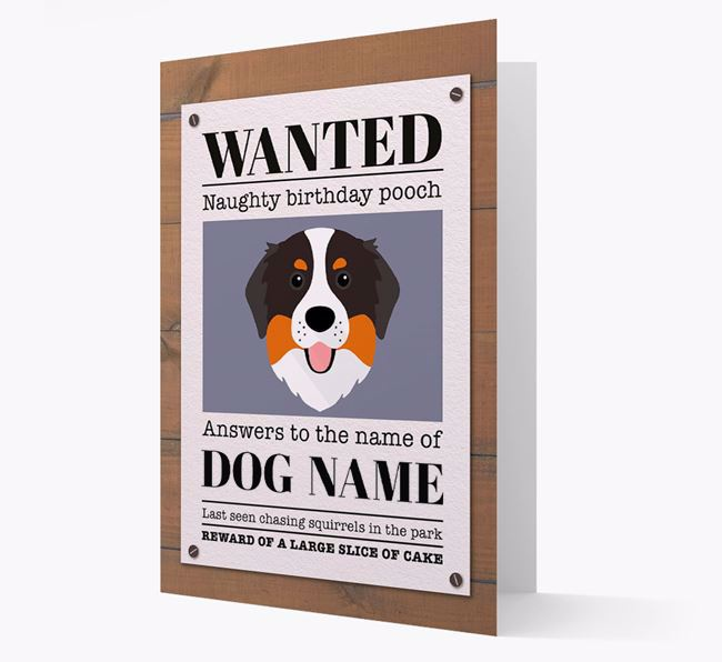 Personalized Card 'WANTED: Naughty Birthday Pooch' with Bernese Icon