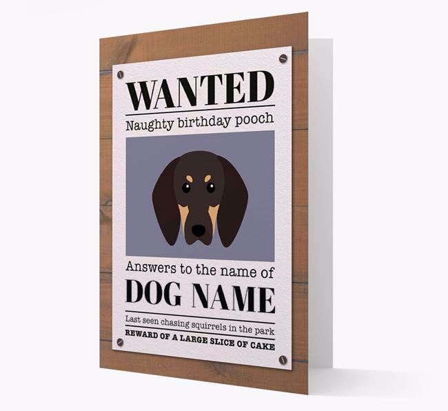 Personalised Card 'WANTED: Naughty Birthday Pooch' with Coonhound Icon