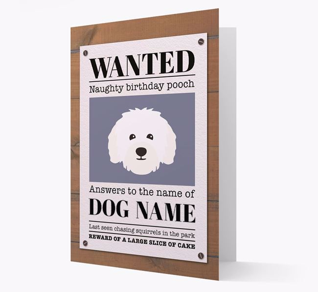 Personalised Card 'WANTED: Naughty Birthday Pooch' with Bolognese Icon