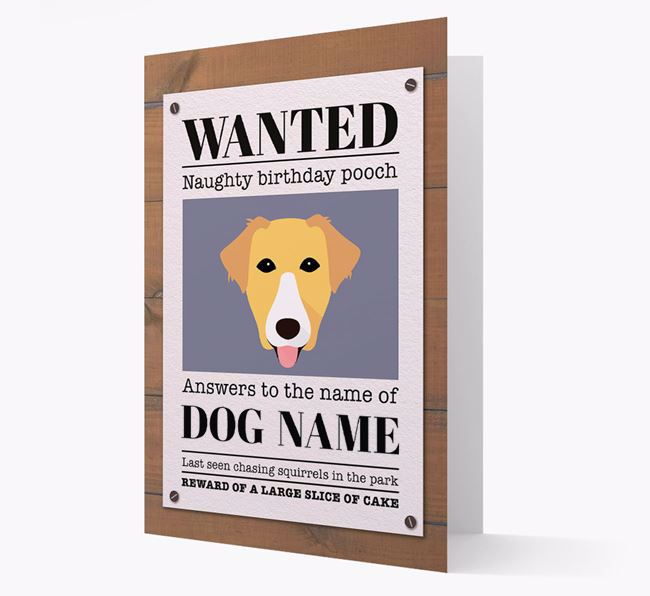 Personalized Card 'WANTED: Naughty Birthday Pooch' with Borador Icon