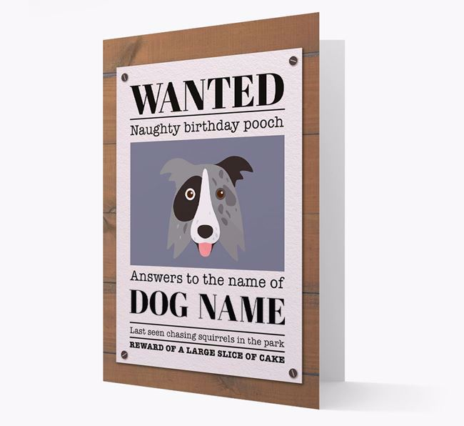 Personalised Card 'WANTED: Naughty Birthday Pooch' with Border Collie Icon