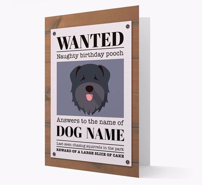 Personalised Card 'WANTED: Naughty Birthday Pooch' with Bouvier Des Flandres Icon