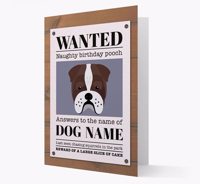 Personalized Card 'WANTED: Naughty Birthday Pooch' with Bull Pei Icon